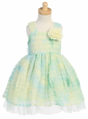 Green Tie Dye Ruffled Tulle Dress