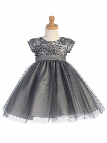 Grey Floral Tulle Bodice w/ Tulle Skirt