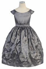 Gray Flower and Sequins Embroidered Taffeta Dress