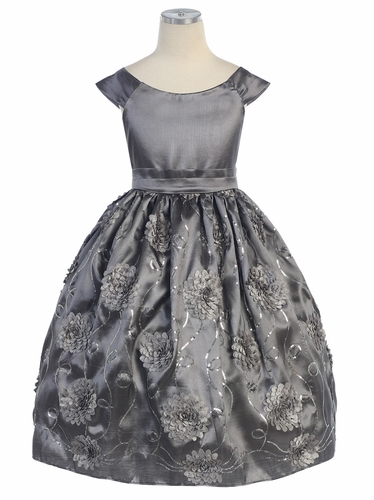 Grey Flower and Sequins Embroidered Taffeta Dress