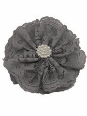 Gray Lace Flower Clip
