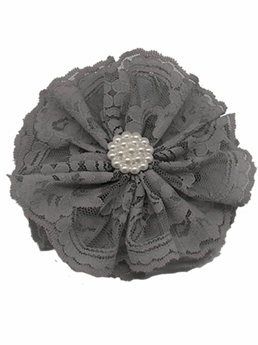 Grey Lace Flower Clip