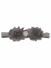 Gray Shabby Rose & Pearl Stone Headband