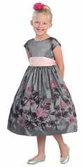 Gray Yarn Embroidered Taffeta Dress w/Cap Sleeves