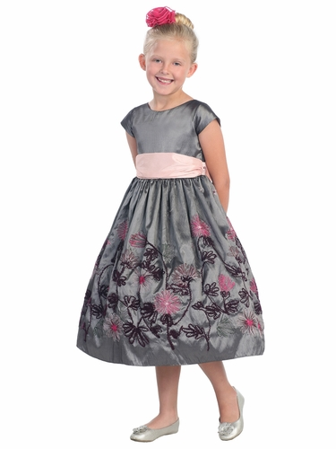 Grey Yarn Embroidered Taffeta Dress w/Cap Sleeves