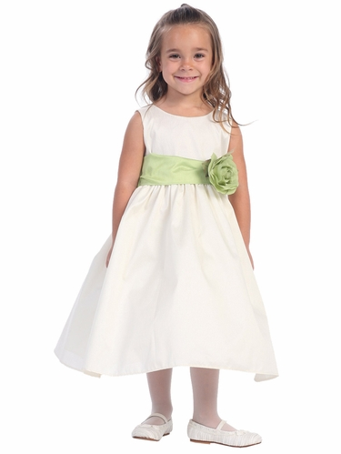 Gwen and Zoe Ivory Polyester Dupioni Dress w/ Detachable Sash & Flower