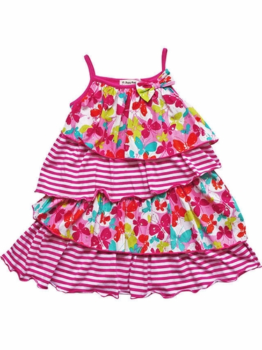 Happy Mermaid Pink Butterfly & Stripe Tiered Dress