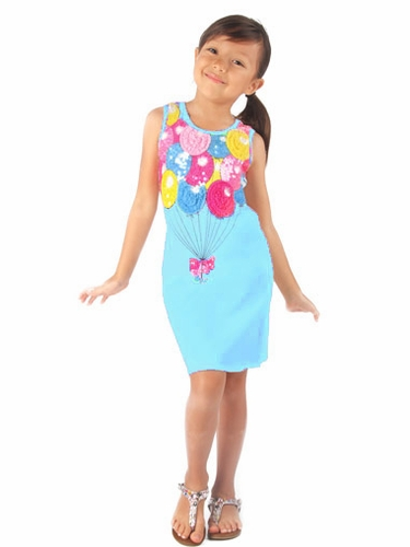 Haven Girl Aqua Birthday Balloon Mesh & Sequins Dress