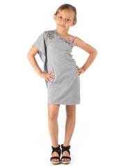 Haven Girl Gray Tiffany Dress w/ Rhinestones & Sequins