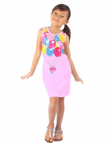 Haven Girl Light Pink Birthday Balloon Mesh & Sequins Dress