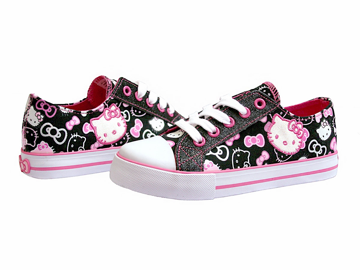 ... Kid's Dress Shoes > Hello Kitty Shoes > Hello Kitty Black Canvas Shoes