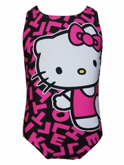 Hello Kitty Black w/ Fuchsia Print 1PC Swimsuit