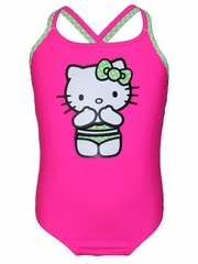 Hello Kitty Neon Pink Cross Back 1PC Swimsuit