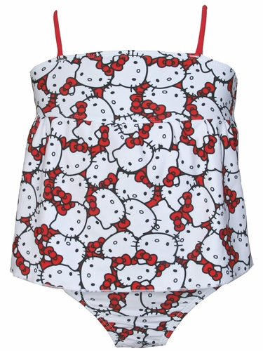 Hello Kitty White Hello Kitty Print w/ Red Accents Tankini