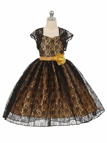 High-Low Black/Gold Floral Lace Dress w/ Matching Bolero