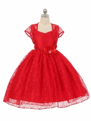 High-Low Red Floral Lace Dress w/ Matching Bolero