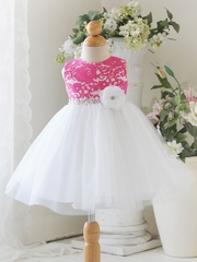 Hot Pink Baby Tulle Dress w/ Floral Lace Bodice