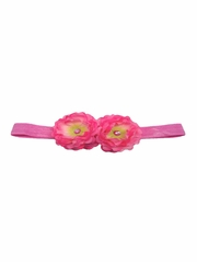 Hot Pink Mini Peonies Elastic Headband