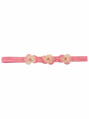 Hot Pink Three Flower Infant Headband