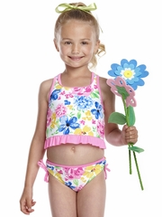 Hula Star Tea Time Pink/Multi Flower Print Tankini 2PC