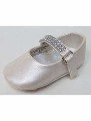 Infant Girls Ivory Shoe w/ Rhinestone Strap