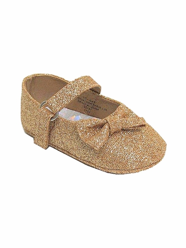 Infant Gold Glitter Ribbon Shoes