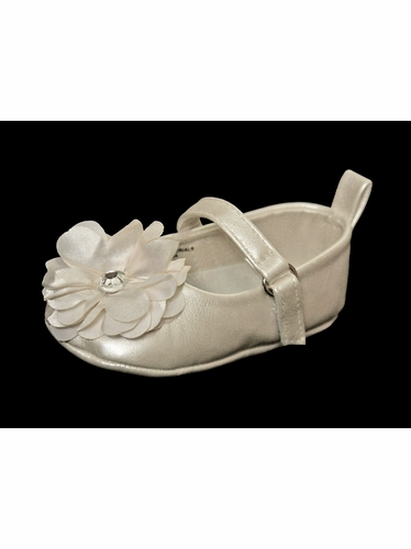 Infant Ivory Shoe w/ Chiffon Flower & Rhinestone