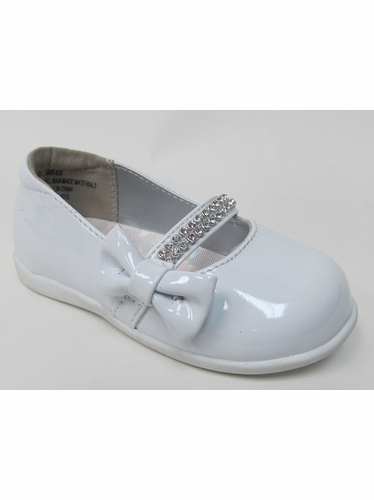 Infant White Patent Shoe w/ Rhinestone Strap & Bow