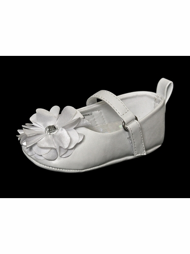 Infant White Shoe w/ Chiffon Flower & Rhinestone