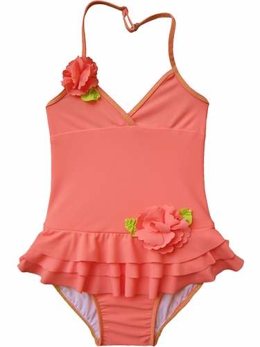 Coral 1PC Halter Swimsuit w/ Ruffles