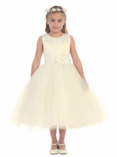 Ivory Satin Bodice w/ Glitter Tulle Skirt Dress