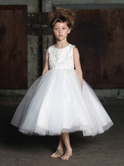 Ivory Beaded  Jacquard Ball Gown w/ Tulle Layered Skirt