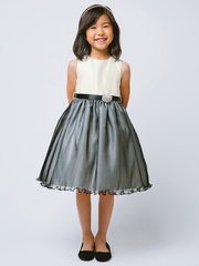 Ivory & Black Sleeveless Dress w/ Pleated Organza Skirt