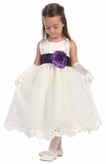 Ivory Blossom Satin Bodice & Embroidered Organza Skirt Detachable Sash