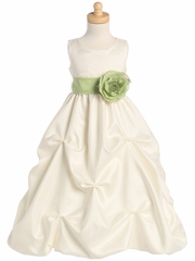 Ivory Blossom Shantung Organza Dress w/Detachable Sash & Flower