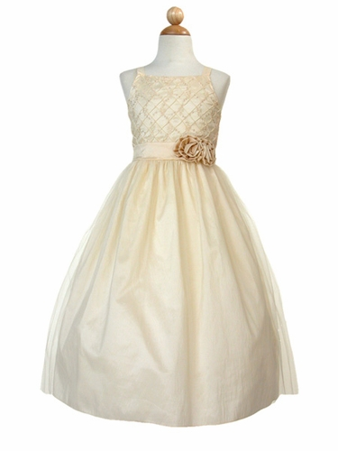 Ivory/Champagne Embroidered Taffeta Tulle Dress