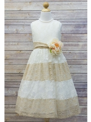 Ivory & Champagne Lace Color Block Dress