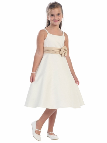 Ivory/Champagne Satin A-Line Dress with Satin Roughing Waist