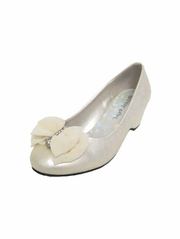 Ivory Chiffon Bow Rhinestone Wedge Shoe