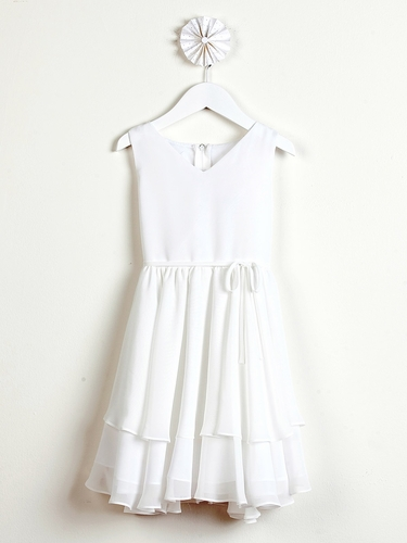 Ivory Chiffon Double Layered Dress