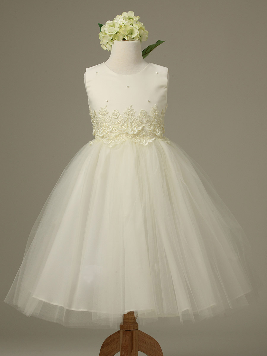 White Tulle Flower Girl Dress With Ivory 28