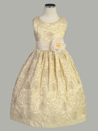 Ivory Cord Embroidered Taffeta Dress