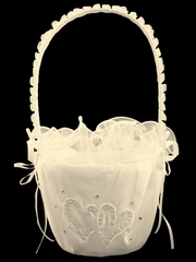 Ivory Double Heart Flower Girl Basket
