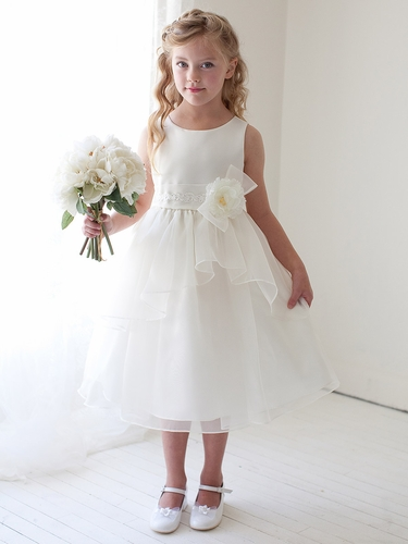 Ivory Double Layered Organza Dress w/ Satin Bodice