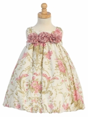 Ivory/ Dusty Rose Cotton Floral Sleeveless Rosette Bubble Dress