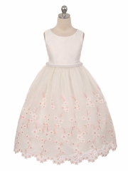 Ivory Embroidered Floral Dress w/ Pearl Waistband & Scallop Hem