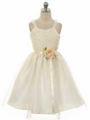 Ivory Embroidered Mesh Rose Dress w/ Tulle Skirt