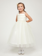 Ivory Embroidered Satin Layered Top w/Tulle Skirt Dress