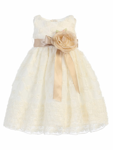 Blossom Ivory Rosette Embroidered Tulle Dress w/ Detachable Flower & Sash