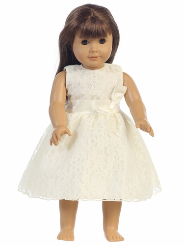 "Ivory Embroidered Tulle Dress w/ Bow 18"" Doll Dress"